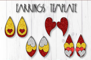 Hearts Earrings Template Bundle Graphic 3D SVG By ArtiCuties