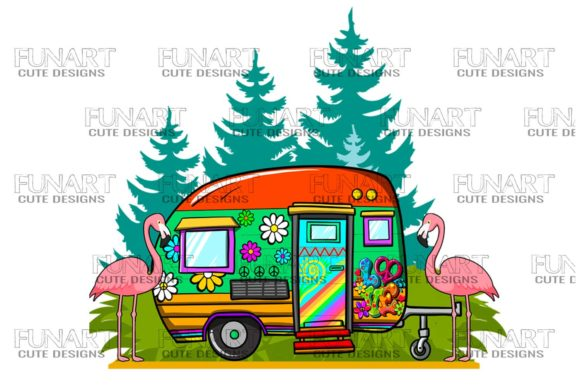 Hippies Life , Campers ,Van Life , Png Graphic Illustrations By Fundesings