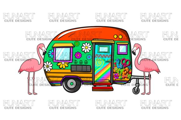 Hippie's Life ,Van ,Campers ,PNG Graphic Illustrations By Fundesings