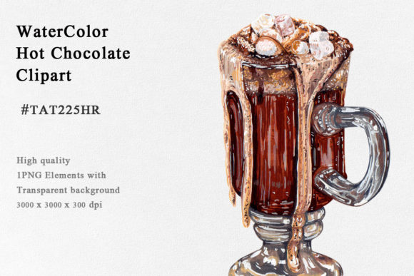 Hot Chocolate Lava Watercolor Clipart Graphic Illustrations By Tat225hr