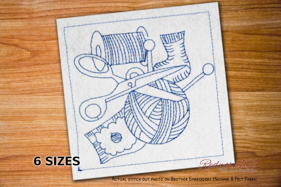 Knitting Cotton Wool and Scissors Sewing & Crafts Embroidery Design By Redwork101