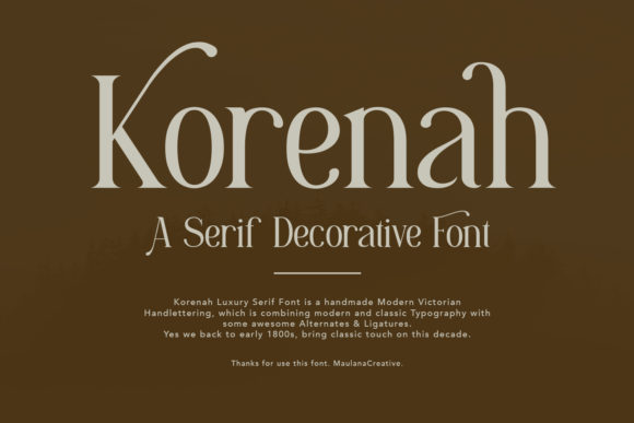 Print on Demand: Korenah Serif Fuente Por Maulana Creative