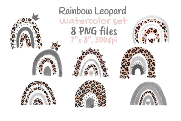 Leopard Rainbow Neutral Watercolor Clip Graphic Objects By artpanda2018