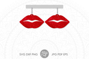 Print on Demand: Lips Valentine Earrings Graphic 3D SVG By Artisan Craft SVG
