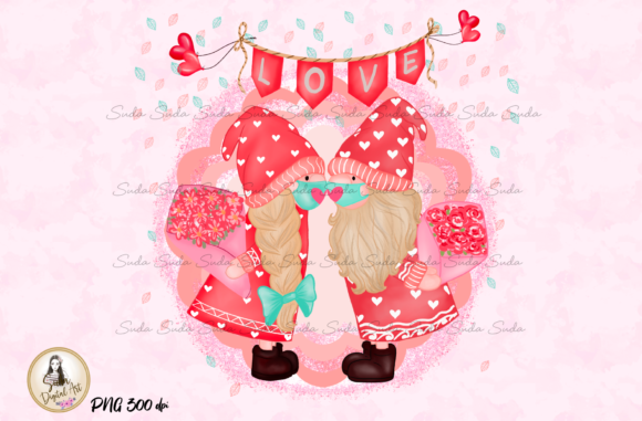 Print on Demand: Love Cute Gnomes Sweet Valentines Graphic Illustrations By Suda Digital Art