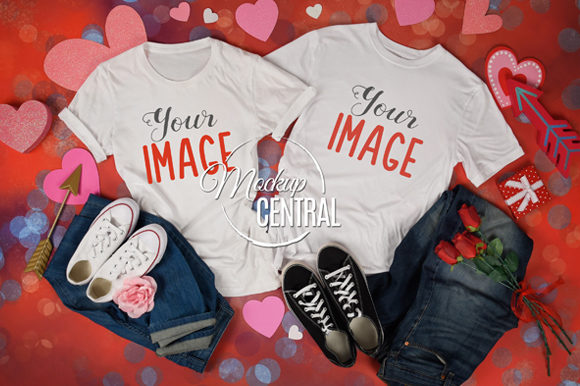 Matching Couple T-Shirt Valentine Mockup Graphic Product Mockups By Mockup Central
