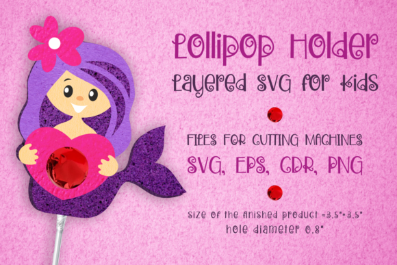 Print on Demand: Mermaid Lollipop Holder - Valentines Svg Graphic 3D SVG By Olga Belova