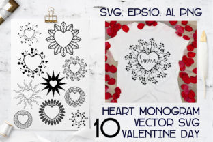 Print on Demand: Monograms Vector Hearts Bundle SVG Graphic Illustrations By Komanna_Art