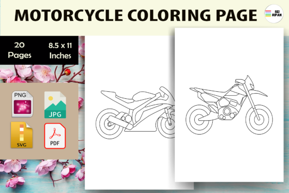Print on Demand: Motorcycle Coloring Page 2 - KDP Graphic Coloring Pages & Books Kids By Sei Ripan