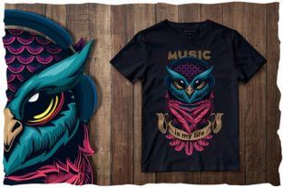 Print on Demand: Musical Owl - T-shirt Design Gráfico Ilustraciones Por dsfractal