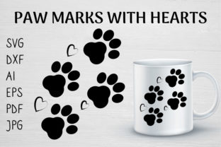 PAW MARKS with HEARTS DOG LOVER SVG PNG Graphic Crafts By sombrecanari