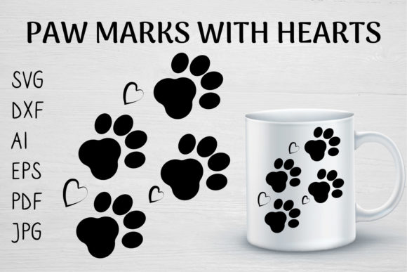 Download PAW MARKS with HEARTS DOG LOVER SVG... SVG Cut Files