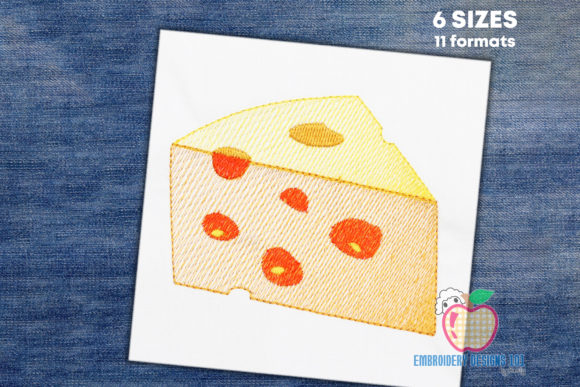 Piece of Cheese Quick Stitch Food & Dining Embroidery Design By embroiderydesigns101