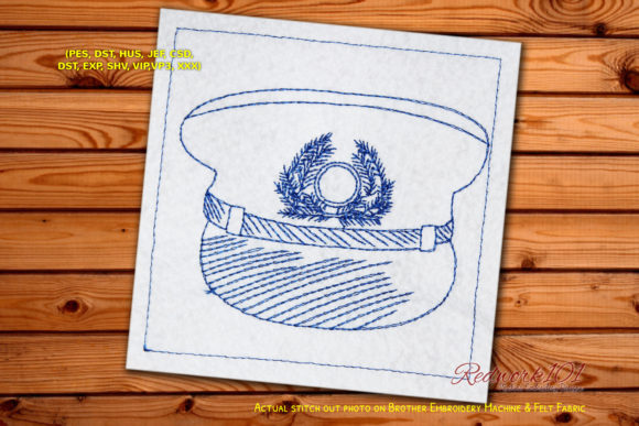 Pilot Cap Lineart Design Work & Occupation Embroidery Design By Redwork101