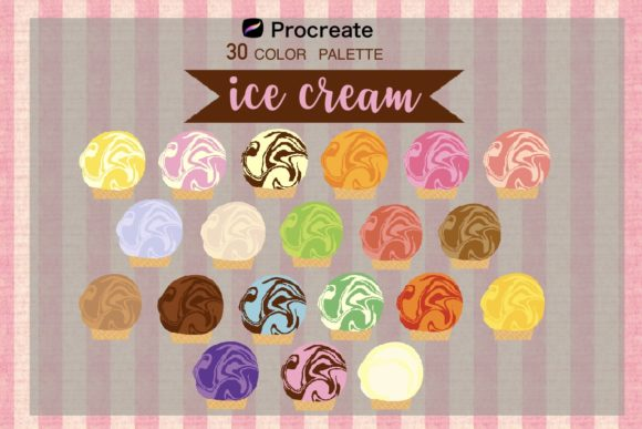 Print on Demand: Procreate Color Palette,ice Cream Flavor Graphic Brushes By Richy Bunny