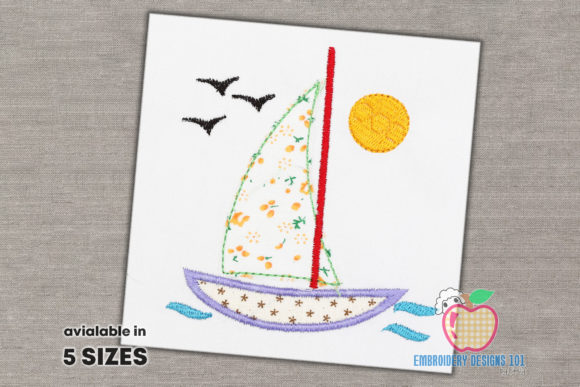 Sailboat in Sea Applique for Kids Transportation Embroidery Design By embroiderydesigns101