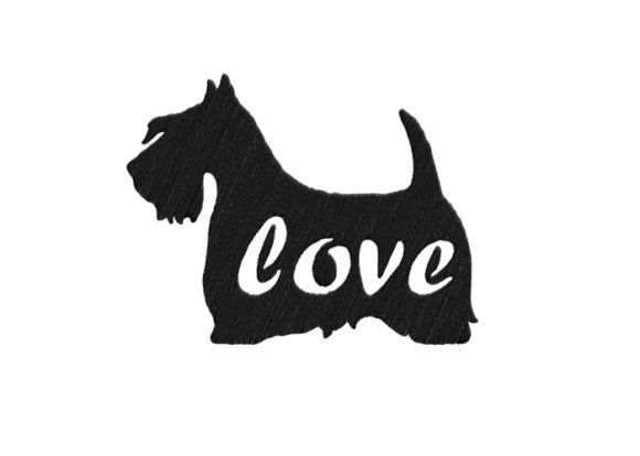 Scottish Terrier Silhouette Dogs Embroidery Design By SweetDesign