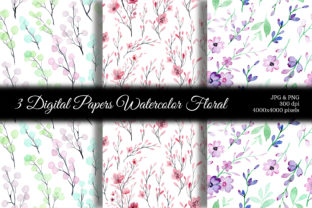 Print on Demand: Seamless Pattern Floral Watercolor 122 Graphic Patterns By asrulaqroni