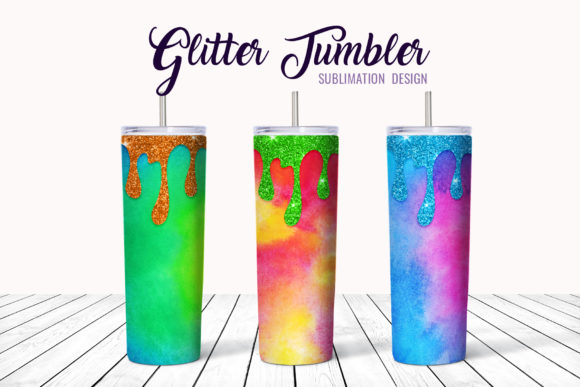 Print on Demand: Skinny Tumbler Design Glitter Watercolor Graphic Crafts By DTCreativeLab