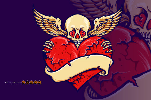 Print on Demand: Skull Heart Cracked Love Valentine Graphic Illustrations By artgrarisstudio