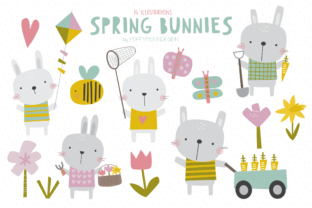 Print on Demand: Spring Bunnies Clipart Set Graphic Illustrations By poppymoondesign