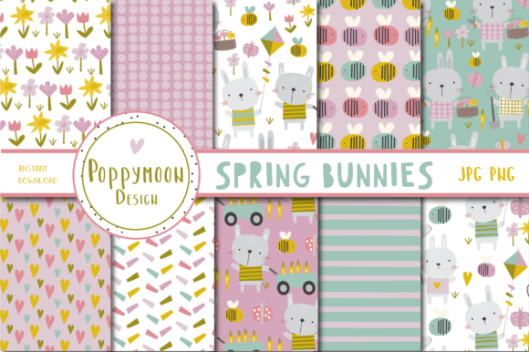 Print on Demand: Spring Bunnies Paper Set Graphic Patterns By poppymoondesign