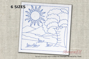 Sunrise in Forest Lineart Design Cities & Villages Embroidery Design By Redwork101