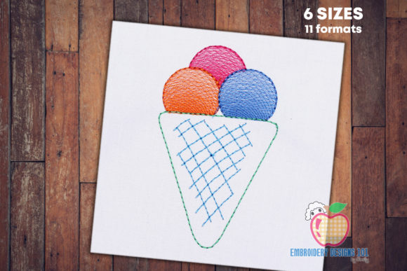 Sweet Vanilla Ice Cram Quick Stitch Food & Dining Embroidery Design By embroiderydesigns101