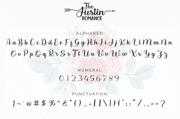 The Justin Romance Font Preview