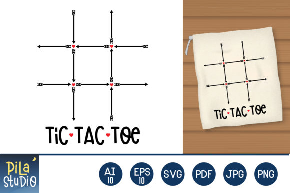 Tic Tac Toe Bag Valentine's Day Game Svg Graphic Illustrations By Pila Studio