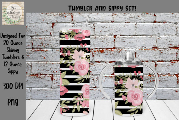 Print on Demand: Tumbler and Sippy Cup Set, Floral Design Gráfico Crafts Por You Make It Personal
