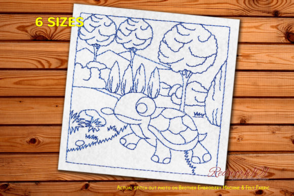 Turtle Crawling in the Jungle Redwork Reptiles Embroidery Design By Redwork101
