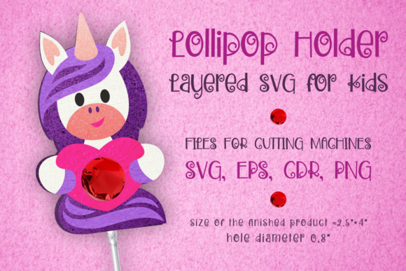 Print on Demand: Unicorn Lollipop Holder - Valentines Svg Graphic 3D SVG By Olga Belova