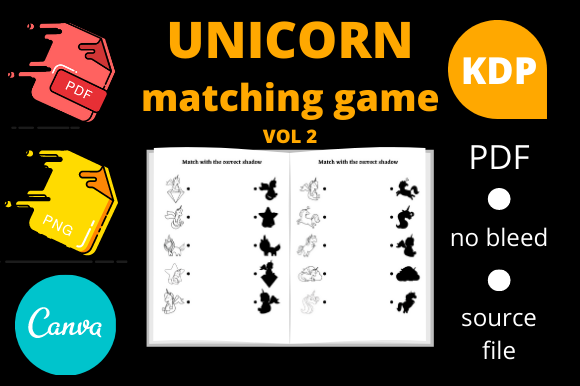 Print on Demand: Unicorn Matching Game for Kids Graphic Illustrations By Dunkyshot