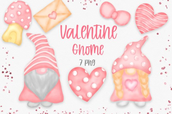 Valentine Gnome Clipart PNG Graphic Illustrations By PinkPearly