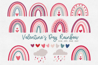 Valentine's Day Boho Rainbow Svg Eps Png Graphic Illustrations By peachycottoncandy
