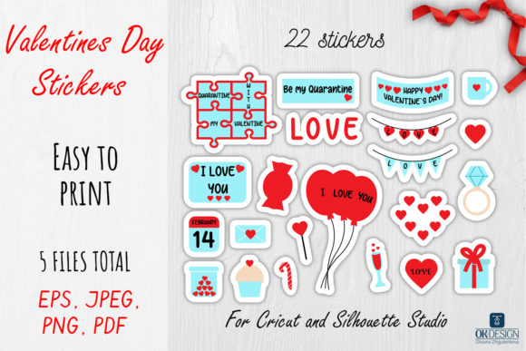 Print on Demand: Valentines Day Cut Stickers 22 Design Graphic Illustrations By OK-Design