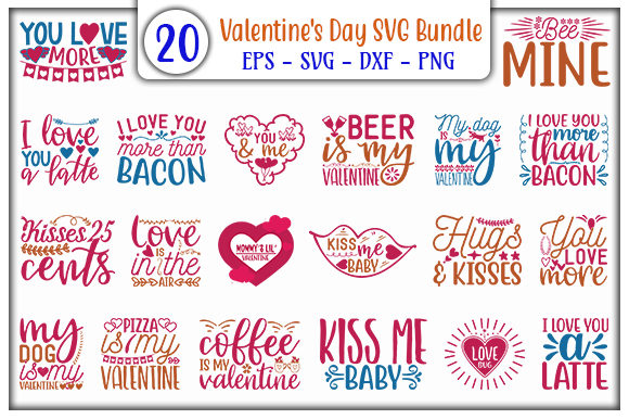 Print on Demand: Valentine's Day SVG Design Bundle Gráfico Plantillas para Impresión Por GraphicsBooth