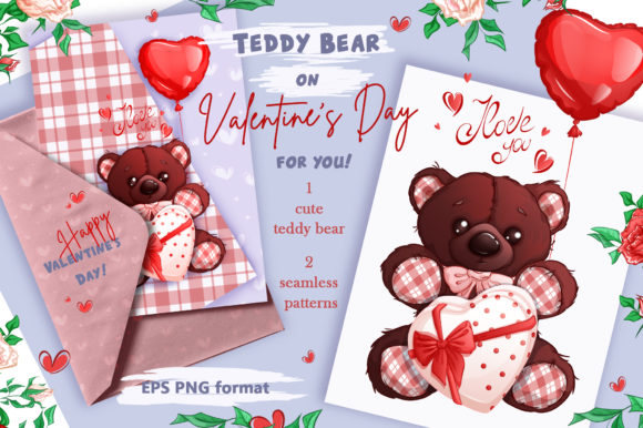 Teddy Bear on Valentine's Day Clipart & Patterns Graphic Illustrations By Maycat