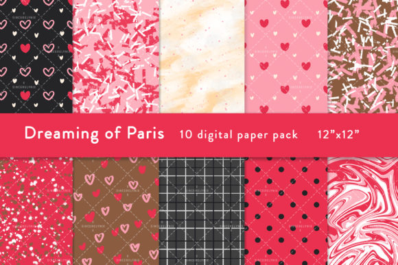 Valentines Digital Paper Graphic Patterns By SincerelyNix