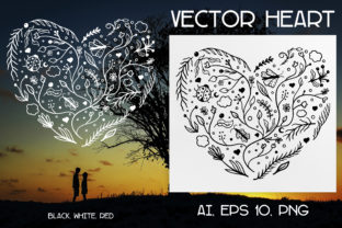 Print on Demand: Vector Doodle Floral Heart Ai, EPS, PNG. Graphic Illustrations By Komanna_Art