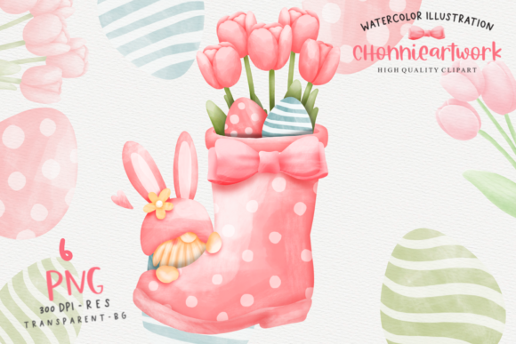 Print on Demand: Watercolor Easter Day with Gnome Clipart Graphic Crafts By Chonnieartwork