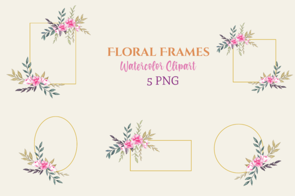 Watercolor Floral Frames Clipart Graphic Illustrations By roosmom