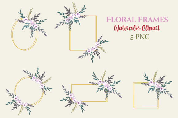 Watercolor Floral Frames Graphic Illustrations By roosmom