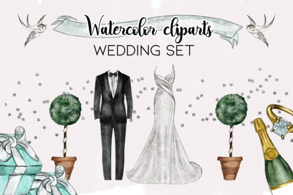 Watercolor Wedding Clipart Png Set Graphic