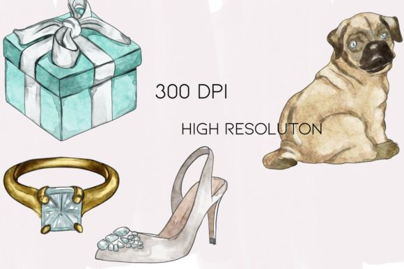 Watercolor Wedding Clipart Png Set Graphic Download