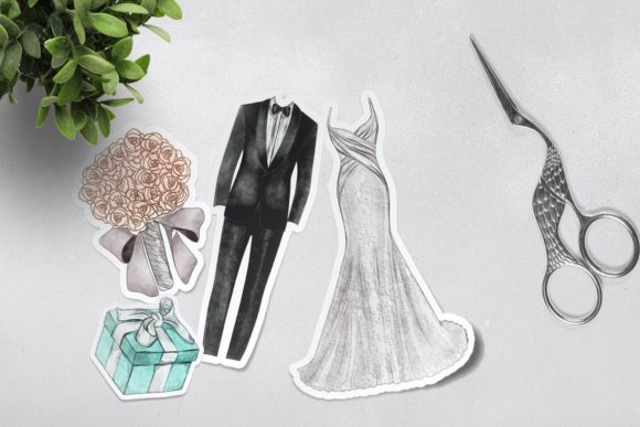Watercolor Wedding Clipart Png Set Graphic Preview