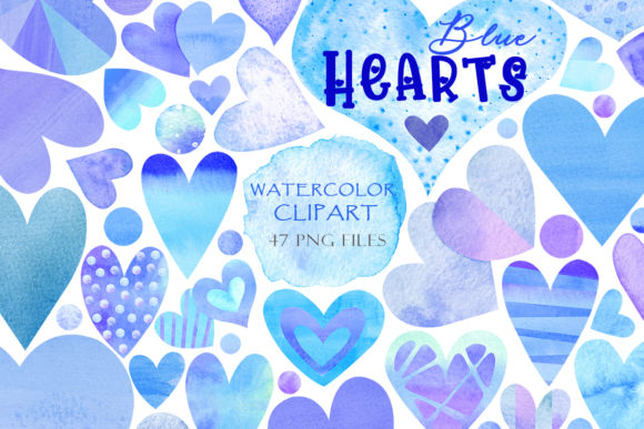 Print on Demand: Watercolor Blue Hearts Graphic Illustrations By TanyaPrintDesign