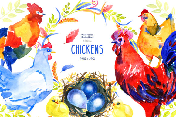 Watercolor Chicken Clipart Graphic Illustrations By NataliMyaStore