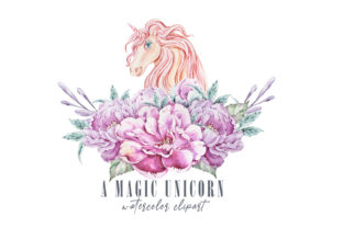 Print on Demand: Watercolor Cute Floral Unicorn Clipart Graphic Illustrations By Tiana Geo